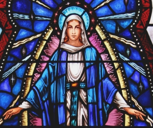 Stained glass window of the Assumption of Mary, St. Mary Cathedral, Trenton.